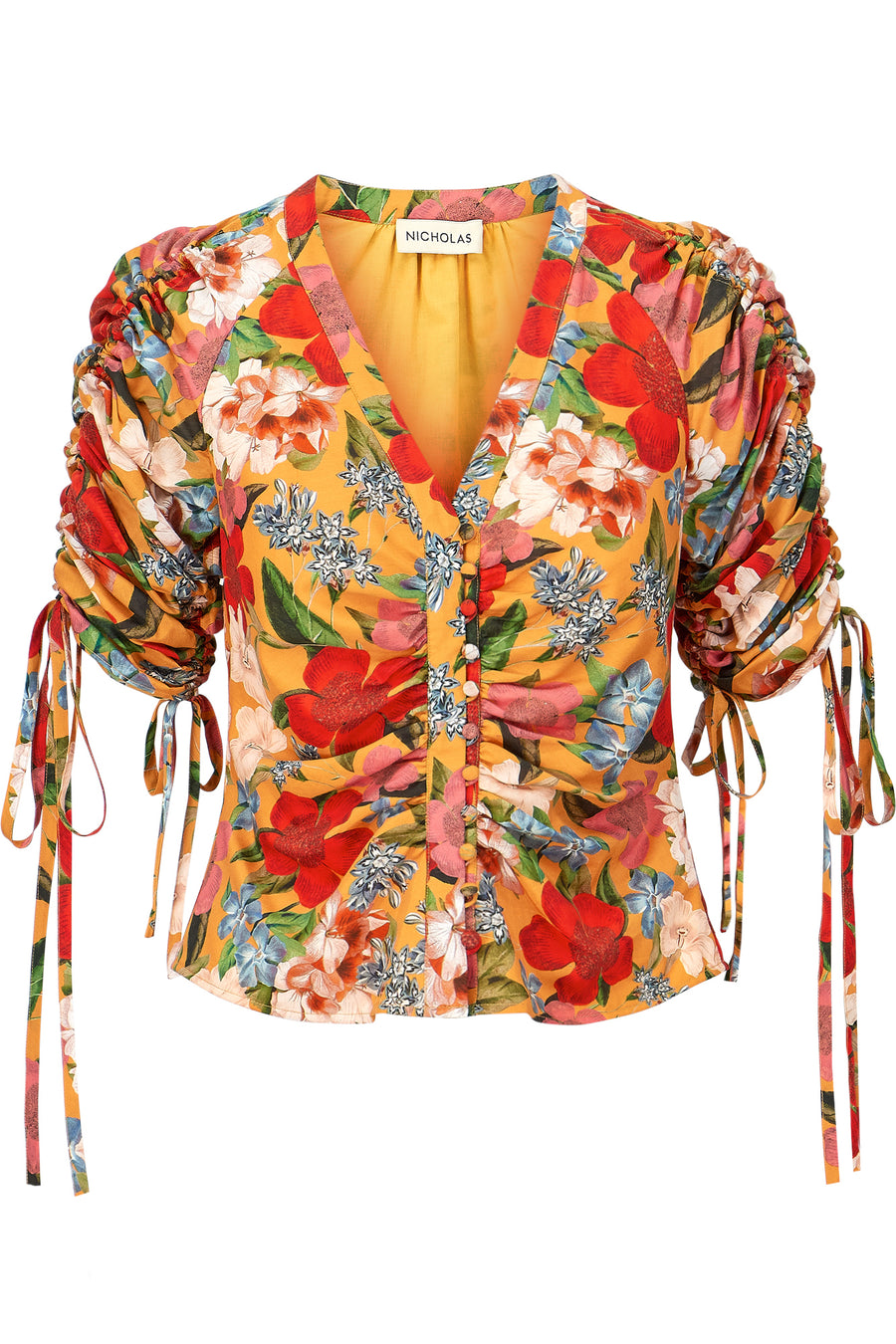 Gathered Sleeve Blouse - Tangerine Multi