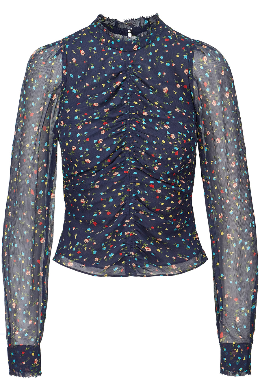 Gathered Front Blouse - Navy Multi