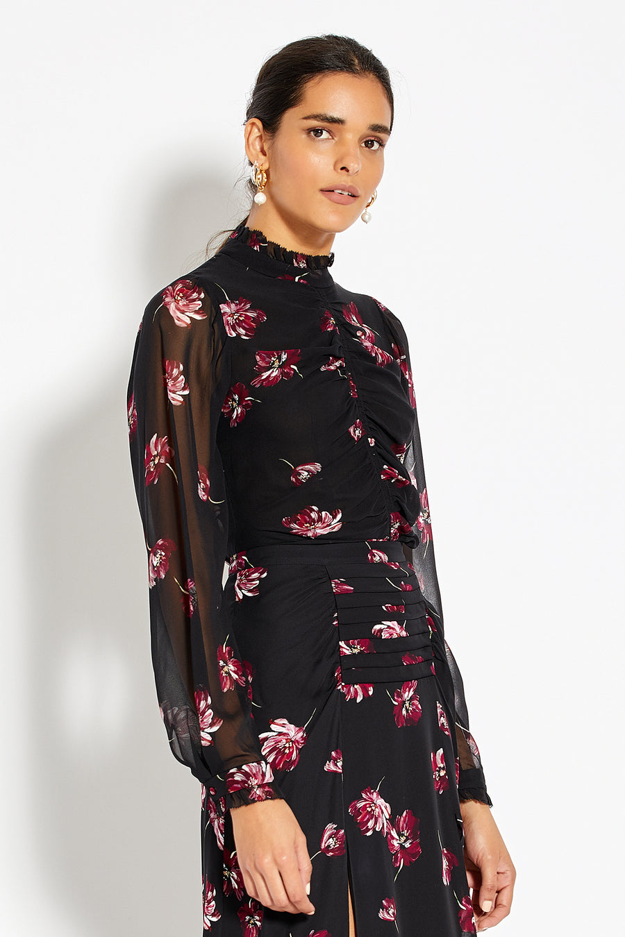Gathered Front Blouse - Mulberry Multi