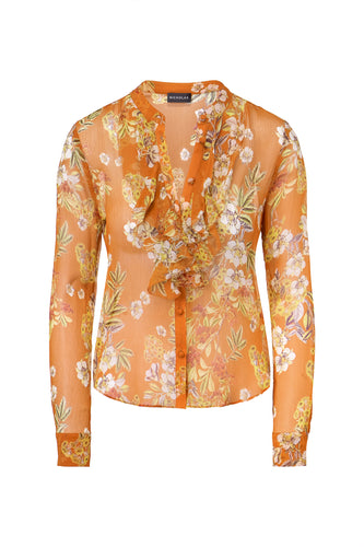 Orange Floral Ruffle Cascade Top - Orange