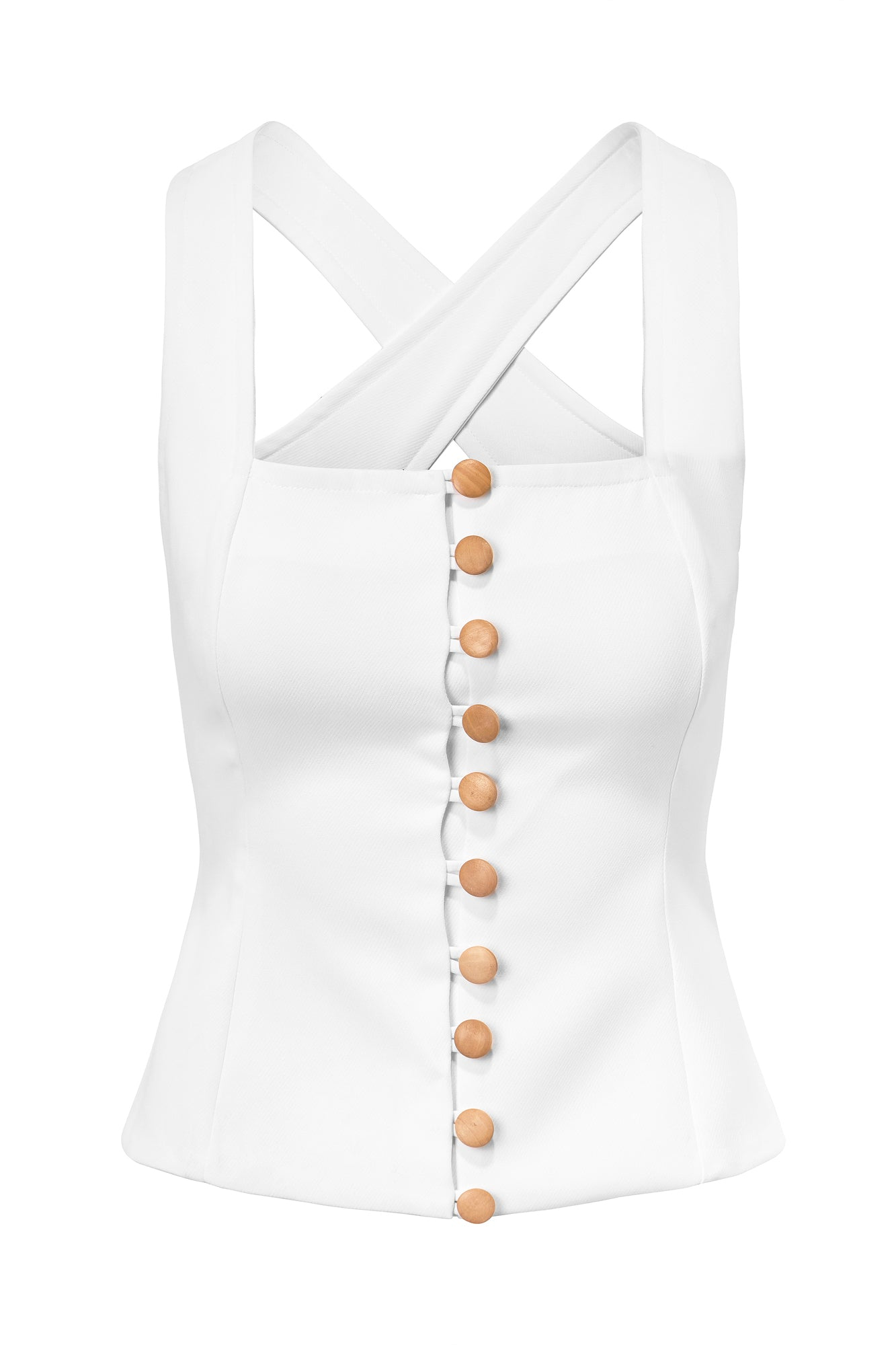 BUTTON FRONT TOP - WINTER WHITE