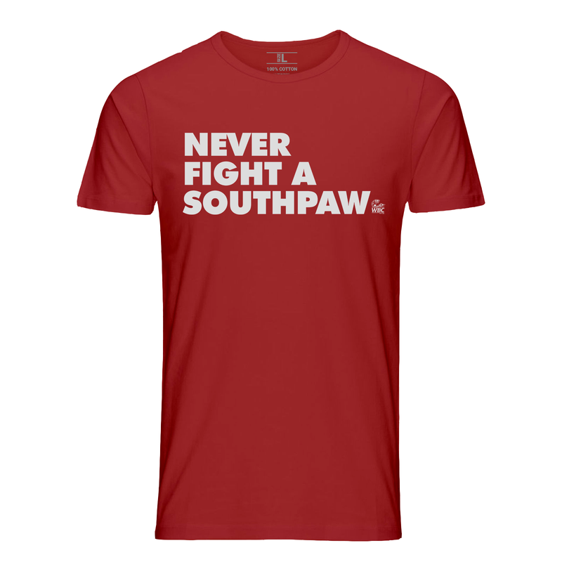 WBC Never Fight A Southpaw Quote Tee -Red