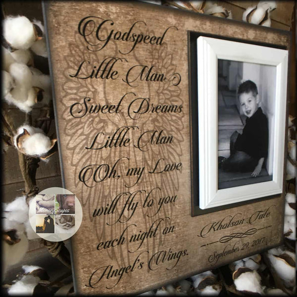 GodSpeed Little Man | Sympathy Gifts | Loss of a Son | Memorial Frame | Loss of Child | Infant Loss| Loss of Baby | Picture Frame - Memory Scapes