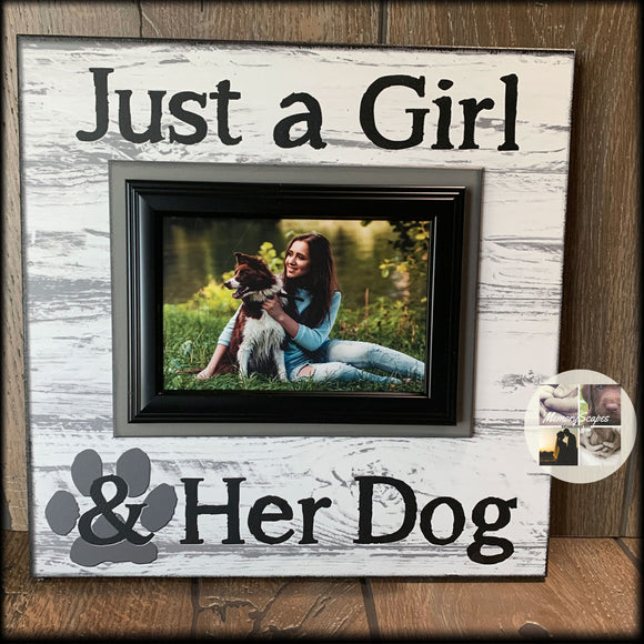 Just a Girl & Her Dog Picture Frame Gift for Dog Lover Home Decor for Dog Mom | MemoryScapes - MemoryScapes Personalized and Customized Picture Frame