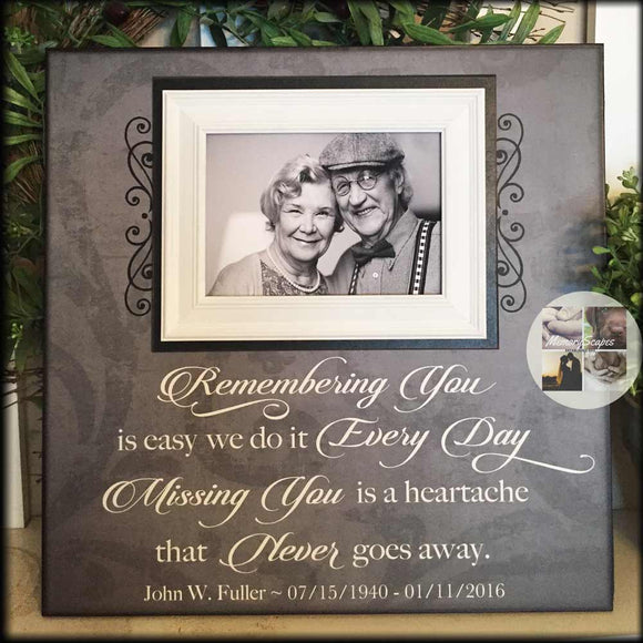 In Memory Frame ~Lost Loved One Photo Memorial ~Remembering You Is Easy ~In Loving Memory Personalized Funeral Bereavement Gift - Memory Scapes
