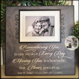 In Memory Frame ~Lost Loved One Photo Memorial ~Remembering You Is Easy ~In Loving Memory Personalized Funeral Bereavement Gift - MemoryScapes Personalized and Customized Picture Frame