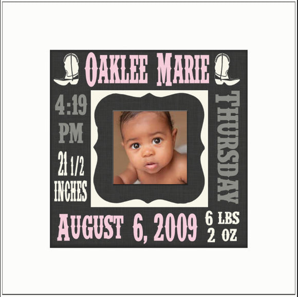 Personalized Neb Baby Gift ~ Western Baby Stats Frame ~ Newborn Weight ~ Length~ Gift to New Parents~ Country Baby Gift ~ New Baby ~ 8x8 - MemoryScapes Personalized and Customized Picture Frame
