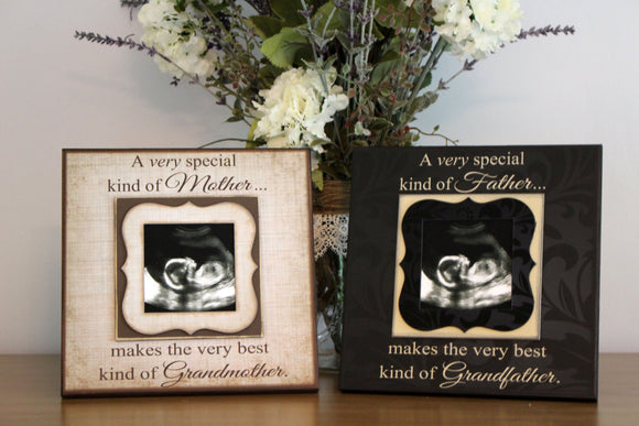 Grandparents Pregnancy Reveal ~ Sonogram Photo ~  Picture Frame ~ To Grandma and Grandpa ~Reveal to Mom ~New Baby Announcement ~ DuoPack - Memory Scapes