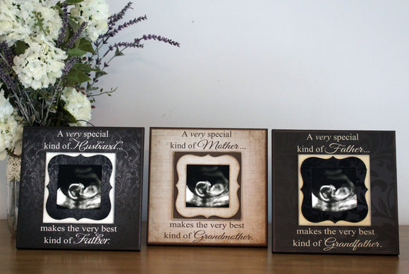 Pregnancy Reveal ~ Triple Pack~ Sonogram Photo ~  Picture Frame ~ Grandma and Grandpa To Be ~Father to Be ~Reveal to All - MemoryScapes Personalized and Customized Picture Frame