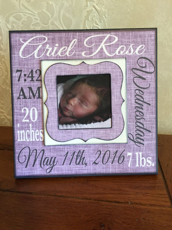 New Baby Girl ~ Baptism Gifts for Godchild ~ Baby Stats Frame ~ Baby Girl Frame ~ Baptism of Goddaughter ~ Baptism Frame ~ Christening Gifts - MemoryScapes Personalized and Customized Picture Frame