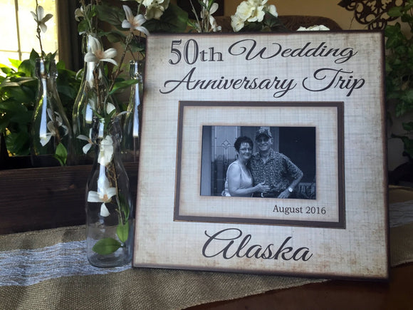Customized Anniversary Frame~ 50th Wedding Gift~ 25th Wedding Present ~ Husband Wife Personalized Frame~ Unique Frame Idea - MemoryScapes Personalized and Customized Picture Frame