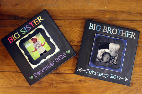 Big Brother Big Sister Pregnancy Reveal ~ Sonogram Photo ~  Due Date Picture Frame ~ Sibling To Be ~ Reveal to Kids ~ New Baby ~ - MemoryScapes Personalized and Customized Picture Frame