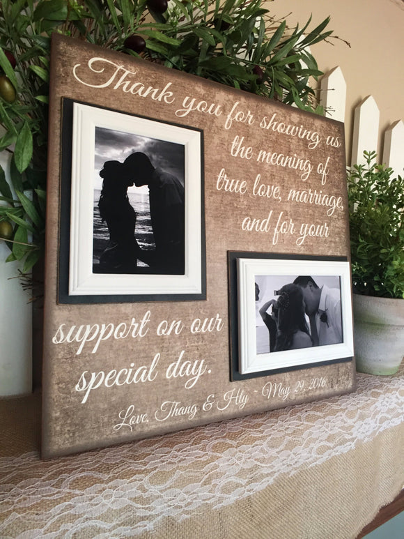 Gift From Bride and Groom To Parents ~ Parents of the Groom Gift ~ Parents of the Bride Gift ~ Thank You Gift ~Wedding Thank You For Support - MemoryScapes Personalized and Customized Picture Frame