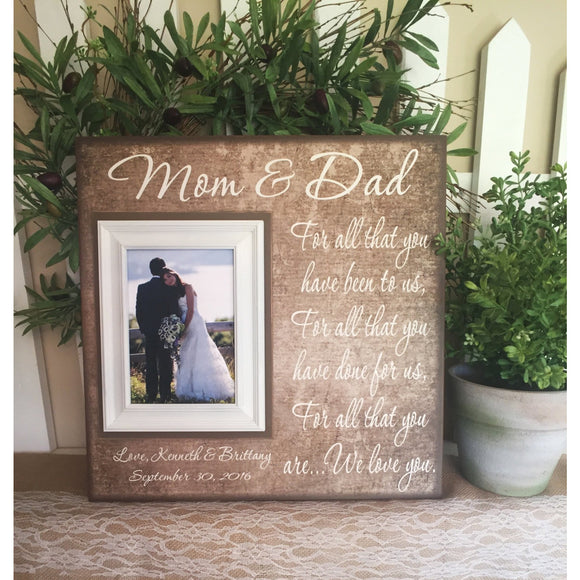 Mom & Dad Thank You Wedding Gift For Parent  ~ From Bride and Groom ~ Mother of the Bride ~ Personalized Wedding Frame ~ MemoryScapes Frames - MemoryScapes Personalized and Customized Picture Frame
