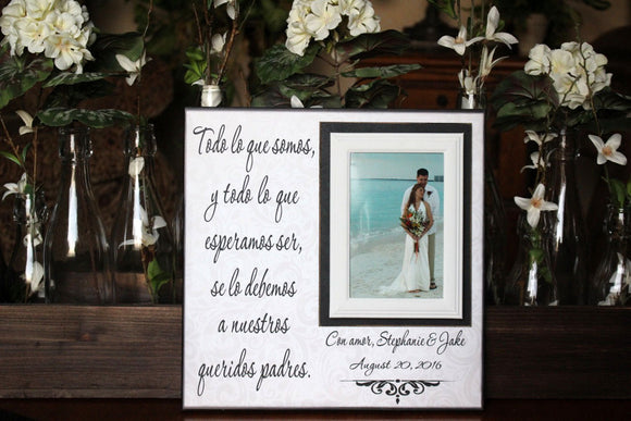 Spanish Padres Wedding Gracias Gift ~ Madre y Padre of the Bride ~ Father and Mother of the Groom ~ Personalized Wedding Frame - MemoryScapes Personalized and Customized Picture Frame