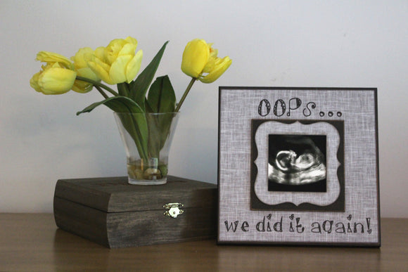 READY TO SHIP!!! Husband Second Child Pregnancy Reveal ~ Sonogram Photo ~  Picture Frame ~ Father To Be ~ Reveal to Husband ~ New Baby - Memory Scapes