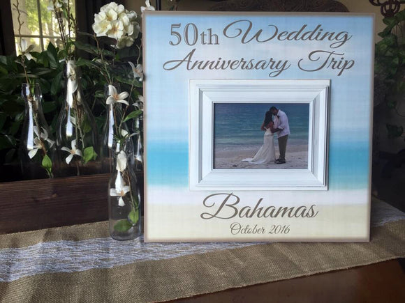 Anniversary Trip Frame | Wedding Anniversary | 50th Wedding | 40th Wedding | 25th Wedding |10th Wedding | For Wife | For Husband - MemoryScapes Personalized and Customized Picture Frame
