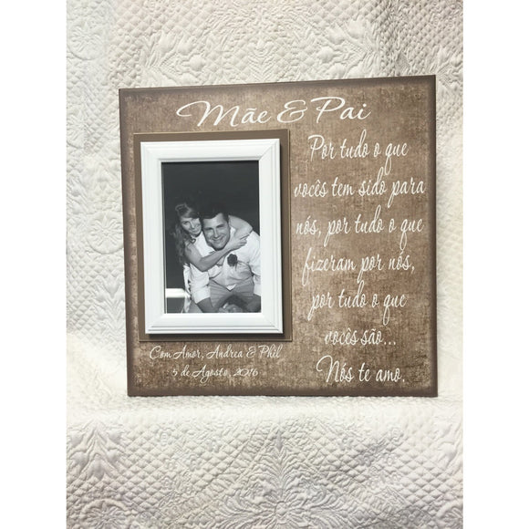Portuguese Parents Wedding Thank You Gift ~ Mother and Father of the Bride ~ Father and Mother of the Groom ~ Personalized Wedding Frame - MemoryScapes Personalized and Customized Picture Frame