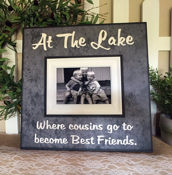 Lake Life Cousins Frame~ At the Lake~ Cousins Go To Become Best Friends~ Lake House Decor~ Boating Memories ~ Camping Frame - MemoryScapes Personalized and Customized Picture Frame
