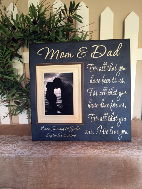 Mom & Dad Thank You Wedding Gift For Parent  ~ From Bride and Groom ~Mother of Bride and Groom Gifts ~ Personalized Wedding Frame ~ - MemoryScapes Personalized and Customized Picture Frame