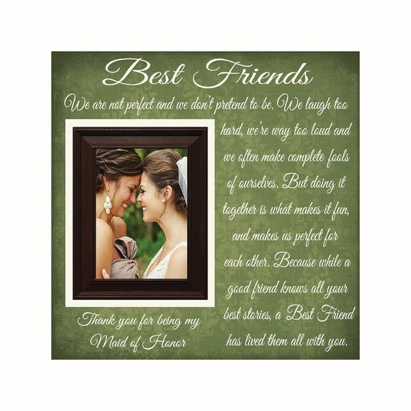 Best Friend Maid of Honor Gift ~ Thank You Wedding Gift For Bridesmaids  ~Matron of Honor Frame  ~Personalized Wedding Frame ~Friend Wedding - MemoryScapes Personalized and Customized Picture Frame