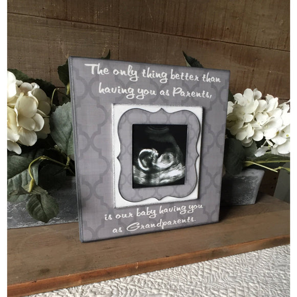 Grandparents Pregnancy Reveal ~ Sonogram Photo ~  Picture Frame ~ New Grandparents To Be ~ Reveal to Mom ~ New Baby - MemoryScapes Personalized and Customized Picture Frame