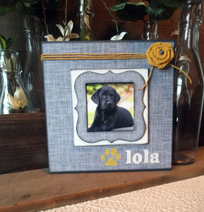 "Personalized Pet Name Frame ~ Customized Dog Frame ~ Personalized Cat Frame ~ Pet Memory Photo Frame ~ 8""x8"" Picture Frame for Animals - MemoryScapes Personalized and Customized Picture Frame"