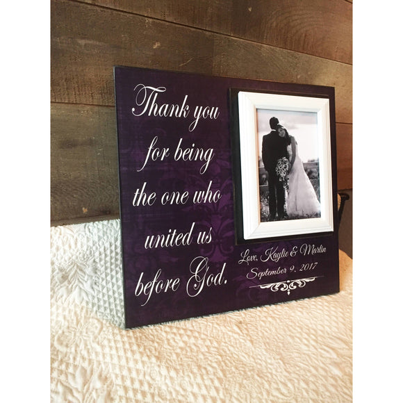 Christian Wedding Officiant Gift ~ Custom Wedding Frame ~ Thank You Gift ~ Thank You For Uniting Us Before God ~Personalized Wedding Gift - MemoryScapes Personalized and Customized Picture Frame
