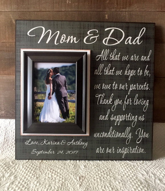 Mother and Father Wedding Thank You | Wedding Gifts for Parents of the Bride and Groom | Wedding Gifts for Parents Ideas | Picture Frames - MemoryScapes Personalized and Customized Picture Frame