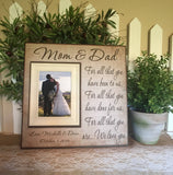 Rustic Thank You Wedding Gift For Parents ~ Mom and Dad ~ Mother and Father ~Personalized Wedding Frame ~For All That You Have Been To Us - Memory Scapes