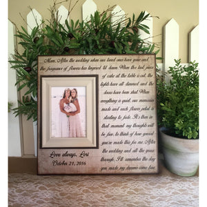 Mom Gift From Bride | Personalized Mother of Bride Picture Frame | Sentimental Mother of the Bride Gifts | Mother Daughter Wedding | Rustic - Memory Scapes