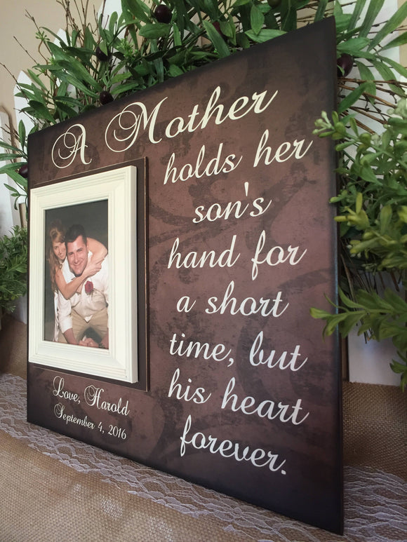 Mother of The Groom Personalized Picture Frame From Groom to Mom | A Mother Hold Her Sons Hand For a Short Time - Memory Scapes