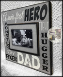 Gift Ideas for Dad From Son | Custom Picture Frame for Dad | Dad Gift For Wall | Dad photo Frame | Personalized Frame For Dad | First hero - MemoryScapes Personalized and Customized Picture Frame