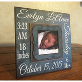 New Baby Boy ~ Baby Boy Frame ~ Baby Stats Frame ~ Baptism Gifts For Godchild ~ Baptism of Godson ~ Baptism Frame ~ Christening Gift - MemoryScapes Personalized and Customized Picture Frame