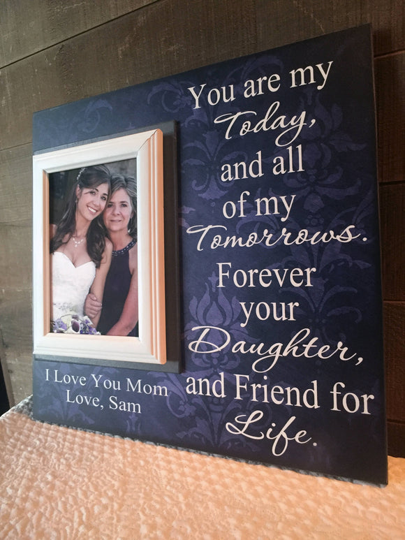 Mother of The Bride Personalized Picture Frame | Thank You Mom Wedding Gift | Going Away Gift For Mom | Frame From Daughter | Mom Gift - Memory Scapes