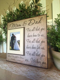 Rustic Thank You Wedding Gift For Parents ~ Mom and Dad ~ Mother and Father ~Personalized Wedding Frame ~For All That You Have Been To Us - MemoryScapes Personalized and Customized Picture Frame