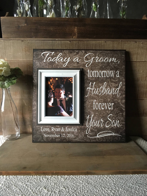 Gift from Groom to Parents~ Mother of the Groom Gift~ Father of the Groom Thank You Gift ~Father Son Wedding ~Parents of the Groom - MemoryScapes Personalized and Customized Picture Frame