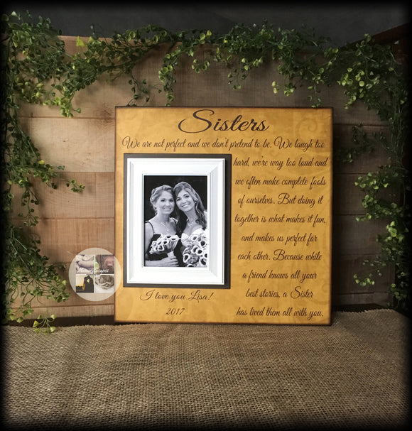 Birthday Sister Gift | Birthday Gifts for Sister | Best Gifts for Sister Birthday | Large Customized Picture Frame | Sister Keepsake Gift - MemoryScapes Personalized and Customized Picture Frame
