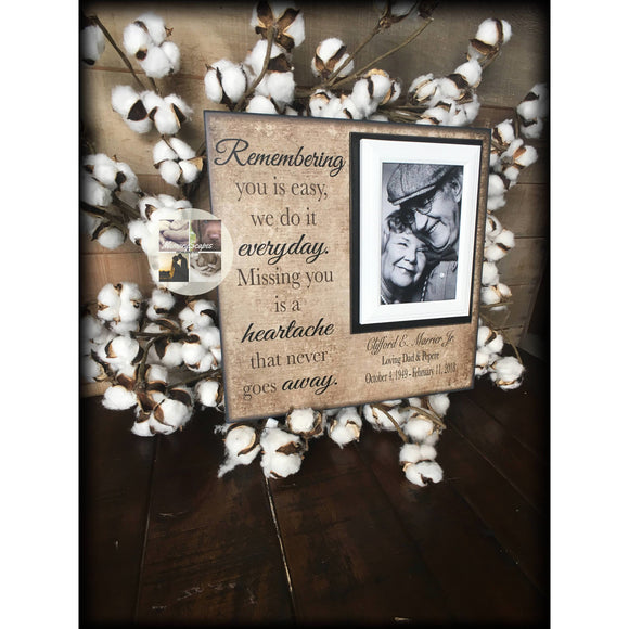 Remembering You is Easy Personalized Memory Frame | MemoryScapes - MemoryScapes Personalized and Customized Picture Frame