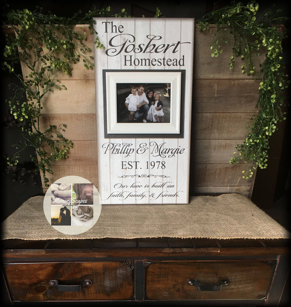 Housewarming Gift | Family Name Sign | New Home | French Country | Personalized Picture Frame | Rustic Decor | Farmhouse Style | Wood Signs - Memory Scapes