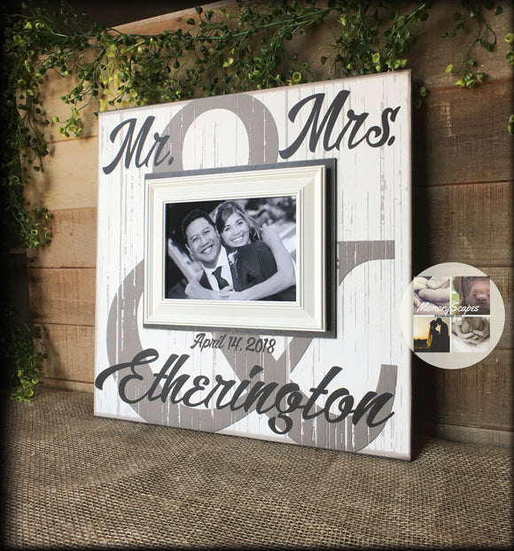 Bridal Shower Gift | Wedding Gift | Personalized Wedding Gift | Mr and Mrs Sign | Personalized Picture Frame | Couples Gift | Future Mrs - Memory Scapes