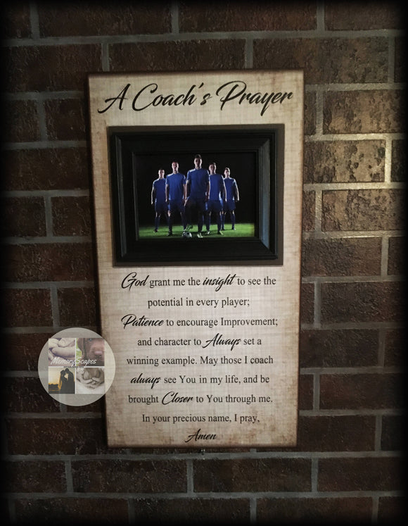 Coach Gifts For Men | Coach Thank You | Personalized Football Coach Gift | Customized Basketball Coach Gift | A Coach's Prayer Frame - MemoryScapes Personalized and Customized Picture Frame