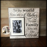 Mother Frames| Gift From Husband | Mom Picture Frame| Personalized Mom Frame | To the World You Are a A Mother | To Mother From Family | #20 - MemoryScapes Personalized and Customized Picture Frame