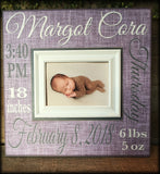 Baby Stat New Baby Gifts Personalized Picture Frame | MemoryScapes - MemoryScapes Personalized and Customized Picture Frame