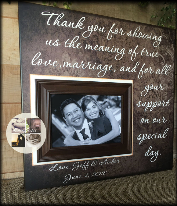 Mom and Dad ~ Thank You Wedding Gift For Parents  ~ From Bride and Groom ~Mother & Father ~Personalized Wedding Frame ~ Thank You ~ #19 - MemoryScapes Personalized and Customized Picture Frame