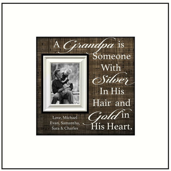 Grandpa Gift from Grandchildren~ Picture Frame For Grandpa~ Personalized Photo Frame~ Papa Picture Frame for Christmas ~ No Matter How Tall - MemoryScapes Personalized and Customized Picture Frame