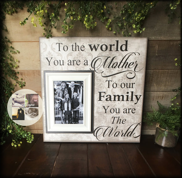 Mother Frames| Gift From Husband | Mom Picture Frame| Personalized Mom Frame | To the World You Are a A Mother | To Mother From Family | #20 - Memory Scapes
