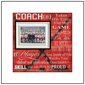 Hockey Coach Gift , Ice Hockey Coach Gift , Custom Coach Picture Frame , Coach Thank You , End Of Season Gift , Personalized Team Frame - MemoryScapes Personalized and Customized Picture Frame