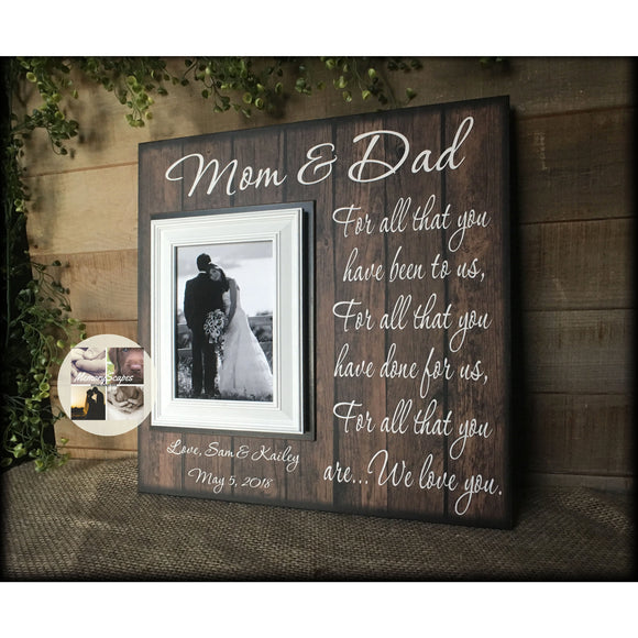 Mom and Dad Thank You ~ Rustic Wedding ~ Gift For Parents  ~ From Bride and Groom ~ Mother of the Bride ~ Personalized Wedding Frame | #40 - MemoryScapes Personalized and Customized Picture Frame