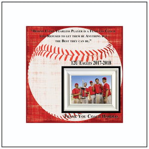 Baseball Coach Gift , Coach Appreciation , Custom Coach Picture Frame , Coach Thank You , End Of Season Gift , Personalized Team Frame - MemoryScapes Personalized and Customized Picture Frame